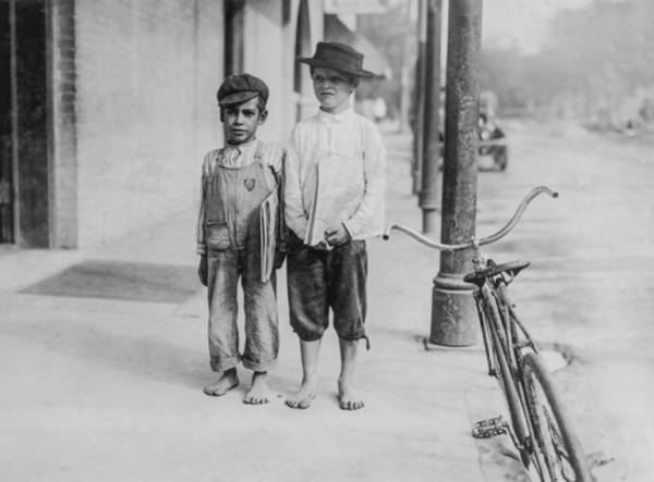 Bicycle Photograph - Two Newspaper Boys by Aged Pixel