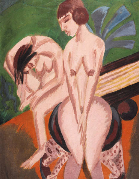 1910s Wall Art - Painting - Two Nudes In The Room by Ernst Ludwig Kirchner
