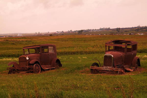 Epping Wall Art - Photograph - Two Old Cars In Epping North Dakota by Jeff Swan