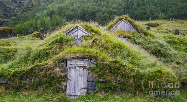 Iceland Digital Art - Two Old Icelandic Houses by Patricia Hofmeester