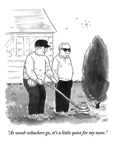 Marijuana Drawing - Two Old Men In A Yard by Carolita Johnson