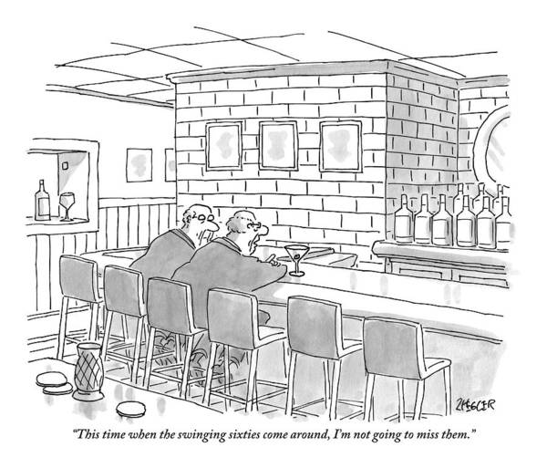 Bars Drawing - Two Older Men Are Sitting An An Empty Bar Talking by Jack Ziegler