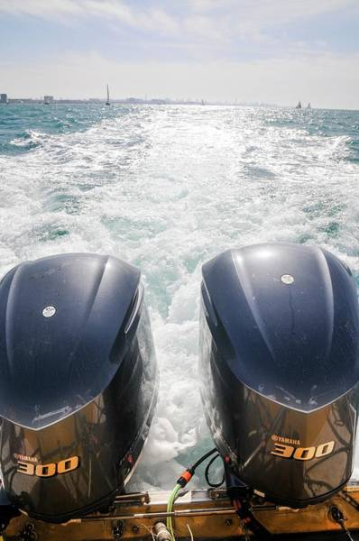 Outboard Engine Photograph - Two Outboard Engines by Photostock-israel