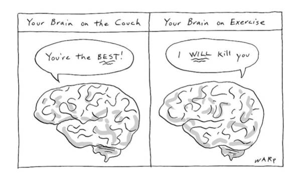 Exercise Drawing - Two Panels: Your Brain On The Couch Brain Saying by Kim Warp