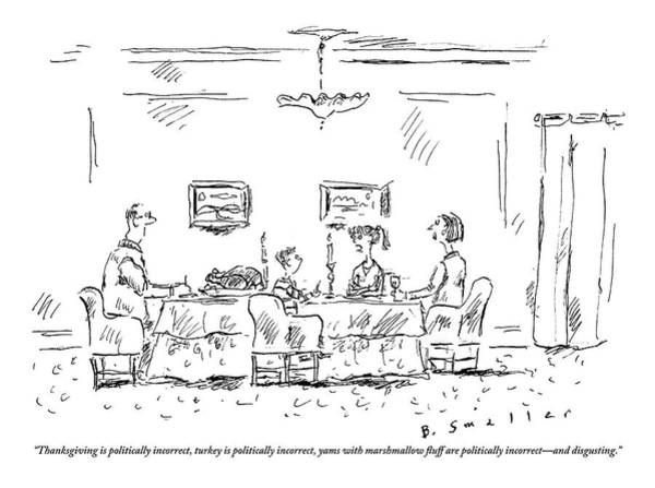 Thanksgiving Drawing - Two Parents And A Daughter At Their Full Dinner by Barbara Smaller