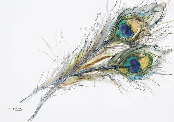 Tara Painting - Two Peacock Feathers by Tara Thelen