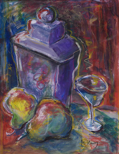 Painting - Two Pears And A Purple Jar by Maxim Komissarchik