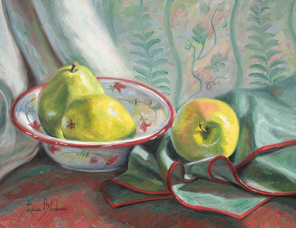 Painting - Two Pears And One Apple by Lucie Bilodeau