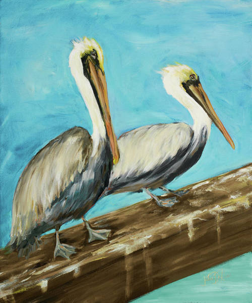 Wall Art - Painting - Two Pelicans On Dock Rail by Julie Derice
