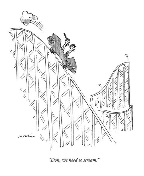 Decisions Drawing - Two People Ride A Roller Coaster by Michael Maslin