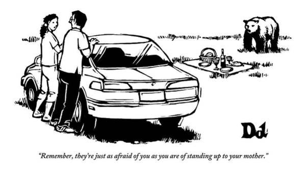 Picnics Drawing - Two People Standing Behind Car Looking At Picnic by Drew Dernavich