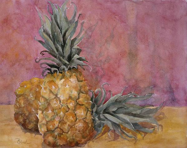 Pineapple Painting - Two Pineapples Art Painting by Blenda Studio