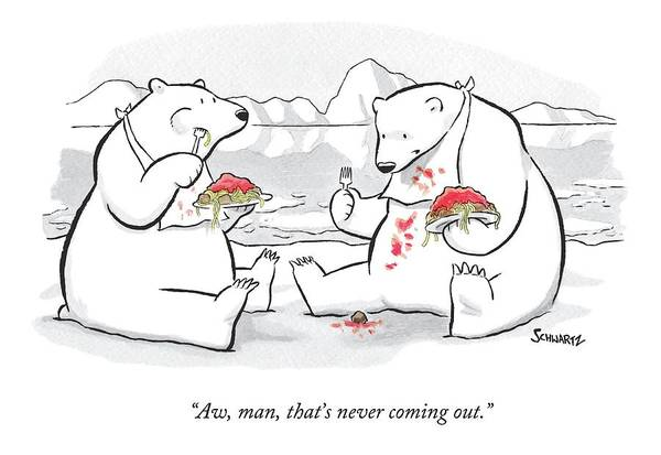 Drawing - Two Polar Bears Eat Spaghetti And Meatballs.  One by Benjamin Schwartz