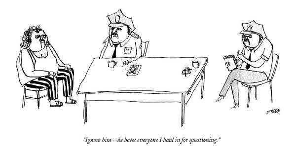 Bad Drawing - Two Policemen Sit At A Table With A Person by Edward Steed
