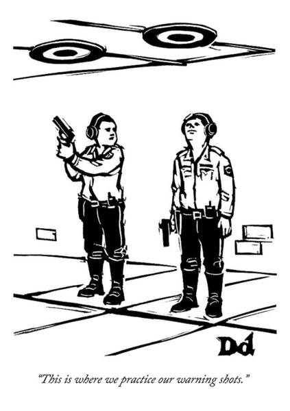 Shooting Drawing - Two Policemen Talk While Standing by Drew Dernavich