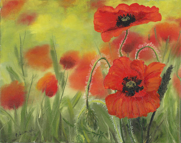 Wall Art - Painting - Two Poppies by Cecilia Brendel