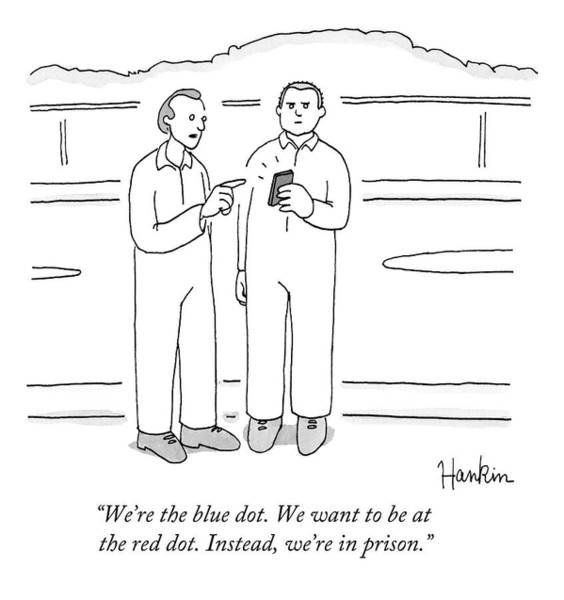 Charlie Hankin Drawing - Two Prison Inmates Look At A Smartphone Together by Charlie Hankin
