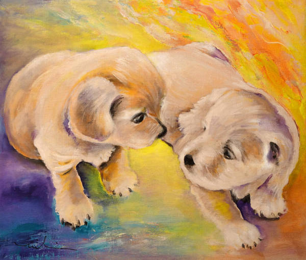 Painting - Two Puppies by Miki De Goodaboom