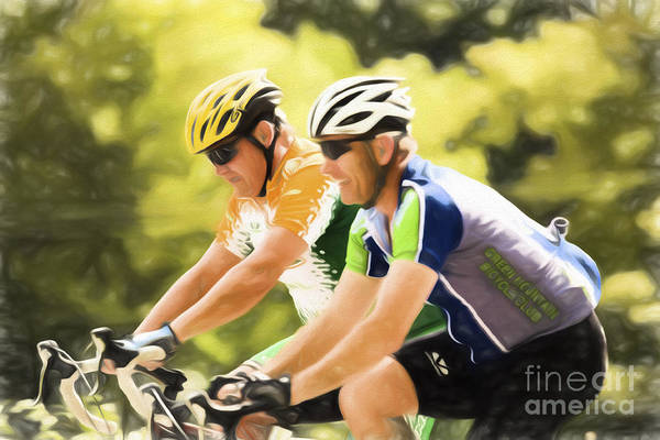 Waitsfield Photograph - Two Racing Cyclists by Jan Tyler