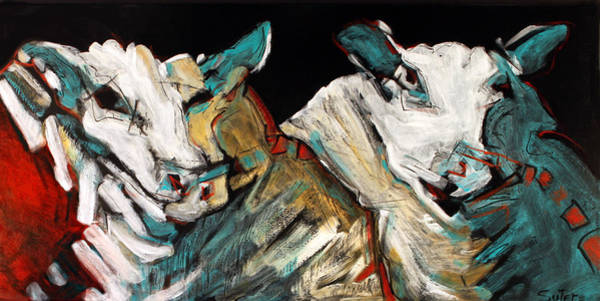 Painting - Two Rams by Cindy Suter