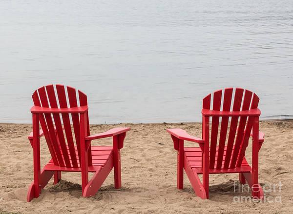 Wall Art - Photograph - Two Red Adirondack Chairs by Barbara McMahon