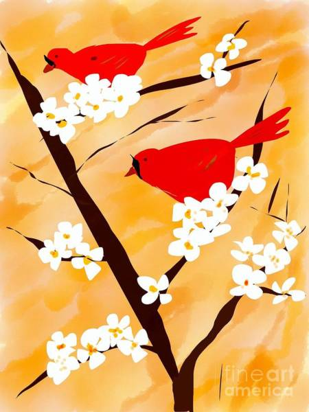 Red Cardinal Drawing - Two Red Birds by Gurkirat Gill