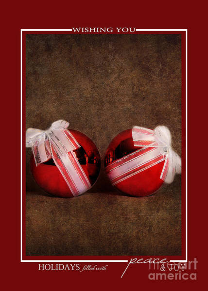 Photograph - Two Red Ornaments Christmas Cards by Jai Johnson