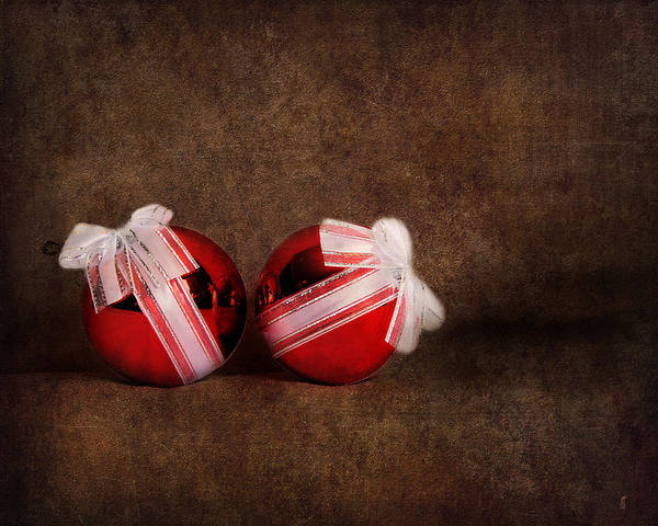Photograph - Two Red Ornaments by Jai Johnson