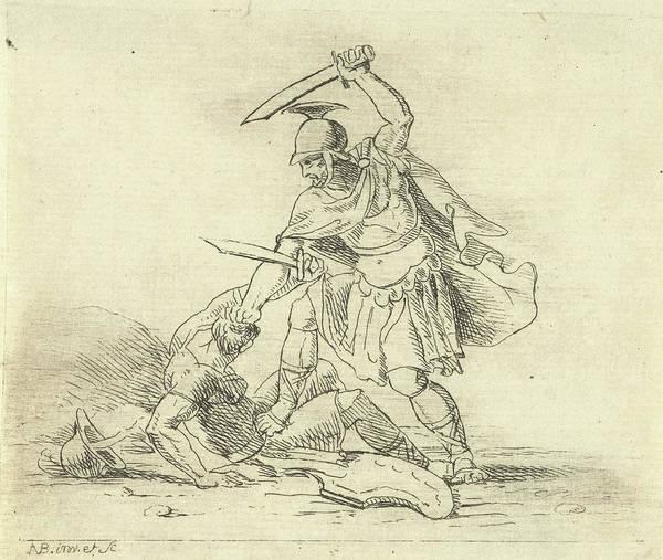 Roman Soldier Drawing - Two Roman Soldiers Fighting Each Other, Antonis Aloisius by Antonis Aloisius Emanuel Van Bedaff