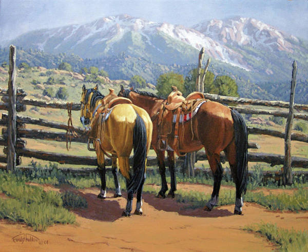 Wall Art - Painting - Two Saddle Horses by Randy Follis