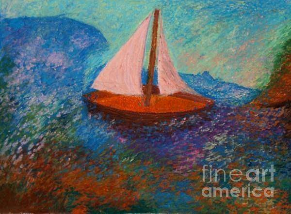 Pastel - Two Sails In Blue by Jon Kittleson