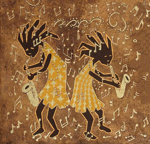 Wall Art - Painting - Two Sax Players by Katherine Young-Beck