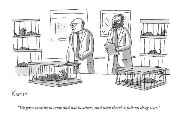 Drug Drawing - Two Scientists Converse In A Laboratory Full by Zachary Kanin