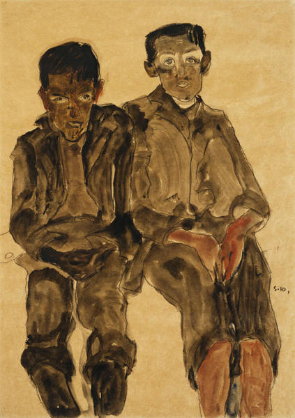 Austrian Painting - Two Seated Boys by Egon Schiele