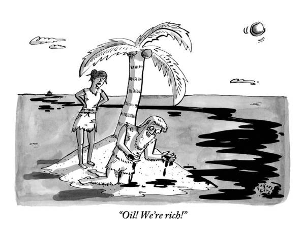 Tree Drawing - Two Shipwrecked Men Are On An Island With A Big by Farley Katz