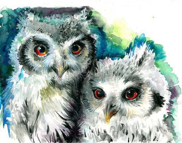 Acuarela Painting - Two Sisters - Polar Owl Offsprings by Tiberiu Soos