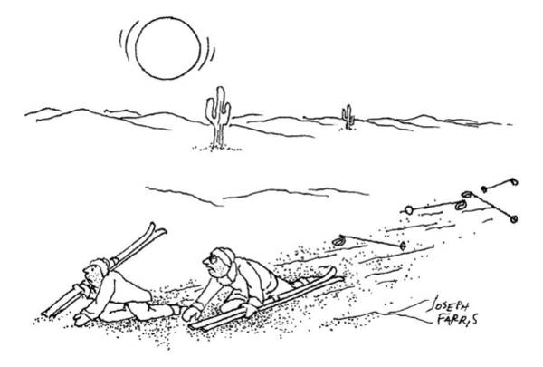 Complain Drawing - Two Skiers Wind Up Plodding Through The Desert by Joseph Farris