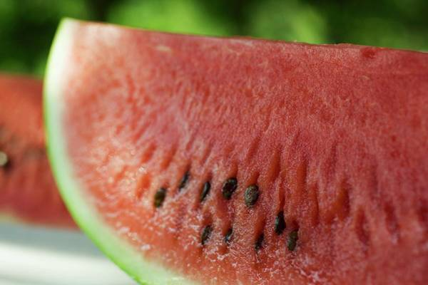 Wall Art - Photograph - Two Slices Of Watermelon by Foodcollection