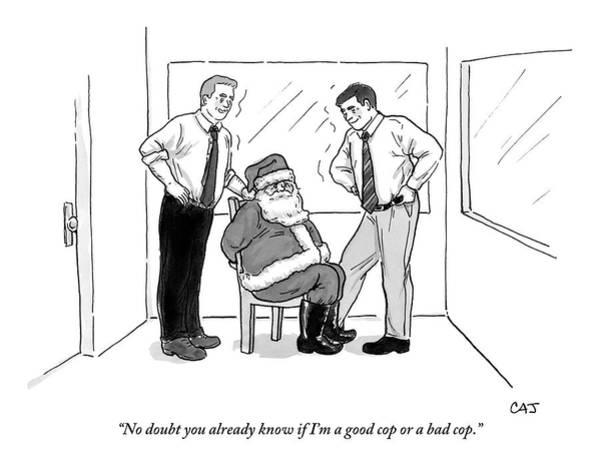 Santa Drawing - Two Smiling Men Interrogate Santa Claus by Carolita Johnson