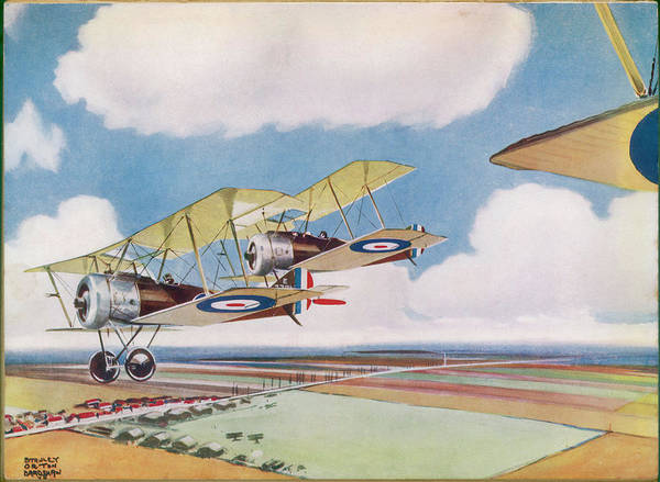 Pup Drawing - Two Sopwiths Pups Fly  Over A War-time by Mary Evans Picture Library