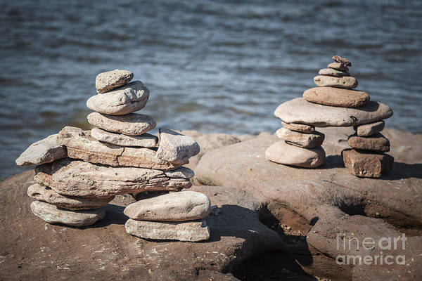 Wall Art - Photograph - Two Stacked Stone Cairns by Elena Elisseeva