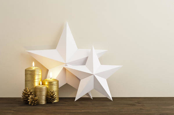Photograph - Two Stars With Golden Candles by U Schade
