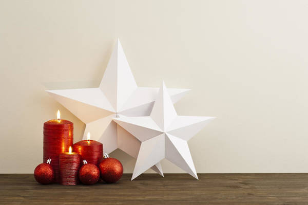Photograph - Two Stars With Red Candles by U Schade