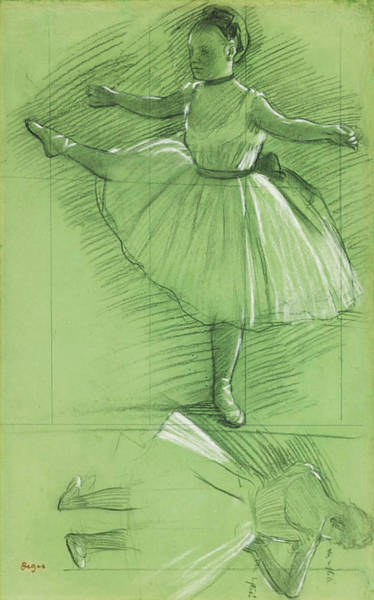 Amuse Drawing - Two Studies For Dancers by Edgar Degas
