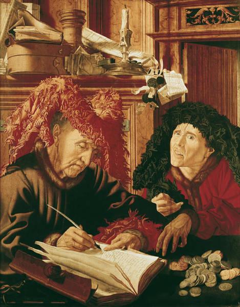 Wall Art - Photograph - Two Tax Gatherers, C.1540 Oil On Panel by Marinus van Reymerswaele
