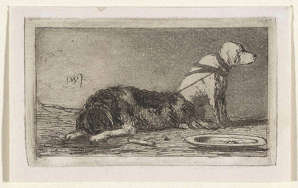 Saucer Drawing - Two Tethered Dogs, Jan Weissenbruch by Jan Weissenbruch