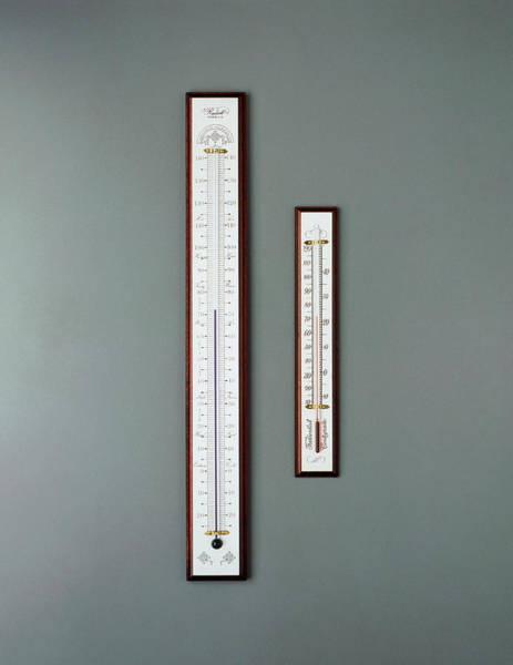 Thermometer Wall Art - Photograph - Two Thermometers For Measuring Air Temperature by Sam Ogden/science Photo Library
