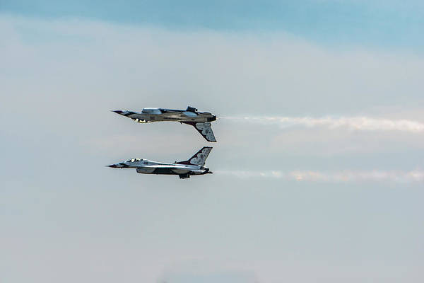 Air Show Photograph - Two Thunderbird Jets Mirroring, One by Sheila Haddad