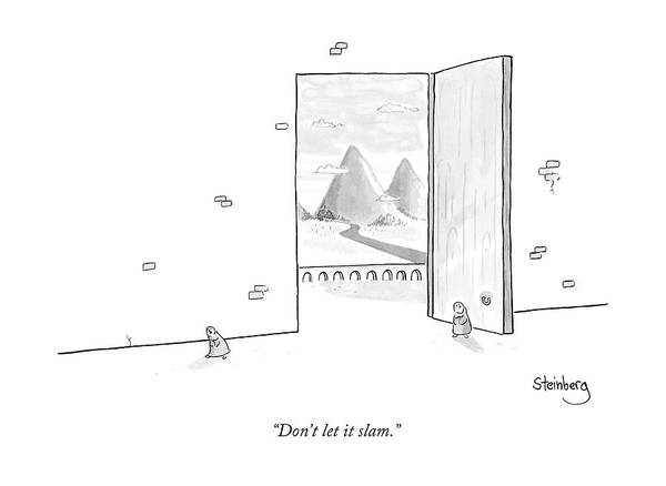 Avi Steinberg Drawing - Two Tibetan Monks Enter An Enormous Doorway by Avi Steinberg