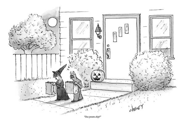 Trick Or Treat Drawing - Two Tirck-or-treaters--one Is A Witch by Tom Cheney
